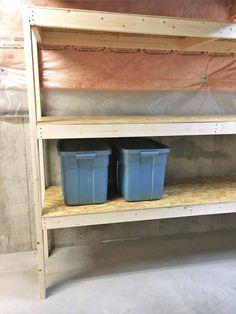 DIY Storage: Easy Extra Space Storage Shelves – Making Things is Awesome – attic Wooden Garage Shelves, Garage Storage Shelves, Garage Shelf, Basement Storage, Attic Storage, Storage Bins, Storage Spaces, Garage Organization, Storage Room