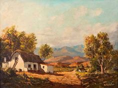 Gabriel Cornelis de Jongh A COTTAGE ALONG A PATH signed oil on canvas craquelure and surface dirt noticeable in the sky area 45 by Love Art, All Art, Gabriel, Shenandoah River, Chrysler Museum, South African Artists, Artwork Pictures, Adam And Eve, Oil Painting Reproductions