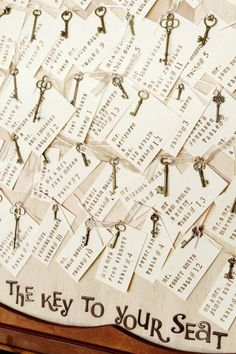 Vintage key place cards for your wedding