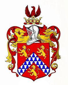 White of Wallingwells coat of arms. Gules, a chevron vair between three lions rampant or