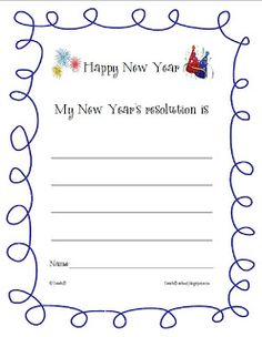 Goal setting: New Year's Resolution writing sheet $0