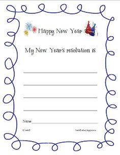 Goal setting: New Year's Resolution writing sheet $0