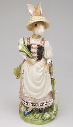 Large Female Rabbit Figurine in Old World Rabbits by Fitz and Floyd