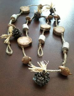 woodland garland with acorns pine cones and by NatureScavenger, $14.00: