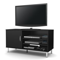 Modern TV Stand in Black Wood Finish with Metal Legs