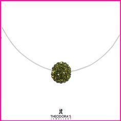 Handmade discreet silver choker green Swarovski necklace on a transparent line with clasp made of sterling silver 925o. Emphasize your appearance with a beautiful Swarovski necklace.  ----------------------------------------------------Χειροποίητο διακριτικό ασήμενιο τσόκερ κολιέ Swarovski (σβαρόφσκι) πράσινο μπάλα σε διάφανη πετονιά με κούμπωμα από επιπλατινωμένο ασήμι 925ο. Αναδείξτε την εμφάνιση σας με τη λάμψη των Swarovski σε ένα υπέροχο γυναικείο κολιέ!
