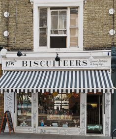 Details Make The Design. Black and white striped store awning at Biscuiteers, London My Building, White Building, Shop Awning, Homes England, Storefront Signs, Container Shop, Outdoor Store, Boutique Homes, Ideas