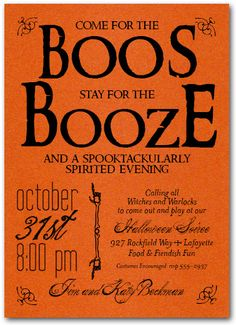 Halloween Invitations: Boos and Booze Orange Halloween Invitations | Come see all our Halloween Party Invitations at Announcingit.com for Kids and Adults