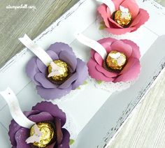 Bigz Bouquet Blume mit Rocher Stampin Up Brombeermousse, Pflaumenblau, Himberrot, Rhabarberrot (Chocolate Box Bouquet)