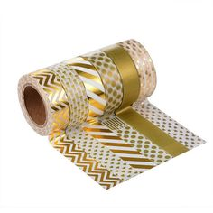 Japanese Gold Foil Washi Masking Tapes; Set of 6 Patterns - Chevron, Dot, Heart, Stripes; Decorations, Gift Wrapping, Planners, Scrapbooking