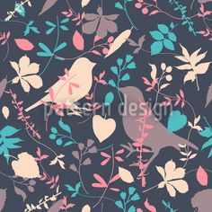 Birds Behind Floral Thicket