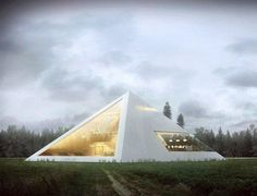 Mexican architect Juan Carlos Ramos created the Pyramid House. In the house - a modern multi-level interior, which houses the library, balcony, two bedrooms and even a Futuristic Home, Futuristic Architecture, Contemporary Architecture, Interior Architecture, Interior And Exterior, Residential Architecture, Pyramid House, Design Case, Modern House Design