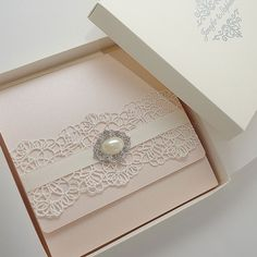 Clear acrylic die cut wedding invitations for elegant wedding favors blush pink vintage wedding invitations decorated with lace and brooch presented in a box stopboris Gallery