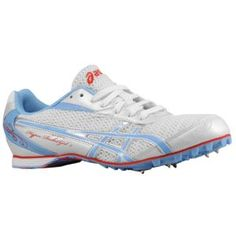 Alexa's current middle distance spikes.  ASICS® Hyper-Rocketgirl 5 - Women's - Track & Field - Shoes - White/Blue-Periwinkle Blue/Cherry