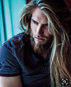 Beautiful Men Faces, Beautiful Long Hair, Gorgeous Men, Hair And Beard Styles, Long Hair Styles, Long Hair Beard, Men With Long Hair, Blonde Guys, Male Face