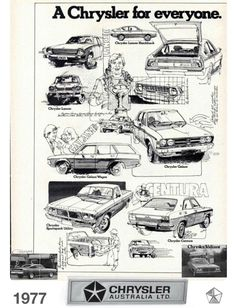 45fa67ffd3 1977 Chrysler Range LA Lancer LB Lancer Hatchback GD Galant KC Centura CL Chrysler  Valiant Regal Regal SE Charger 770 Sportspack Utility Drifter Panel Van ...