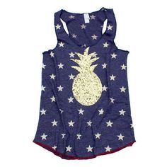 4th of July Shirt 4th of July Tank Tops Pineapple Shirt Pineapple Tank... ($39) ❤ liked on Polyvore featuring tops, red, tanks, women's clothing, blue shirt, red tank, summer shirts, blue sequin shirt and red tank top
