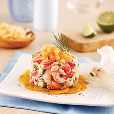 Nordic crab and shrimp tartare - Je Cuisine - Nordic crab and shrimp tartare – Recipes – Cooking and nutrition – Pratico Pratique - Raw Food Recipes, Fish Recipes, Seafood Recipes, Cooking Recipes, Healthy Recipes, Seafood Appetizers, Seafood Salad, Appetizer Recipes, Ceviche