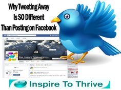 The other day my customer Sally wanted to start tweeting. She asked what is the difference between tweeting away and posting on Facebook. It's a lot different I started to say. It is SO different!