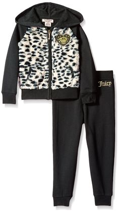 Juicy Couture Little Girls' 2 Piece Fleece Hooded Jacket with Faux Fur and Pant Set, Black, 4. Zip front jacket. Pockets on jacket.