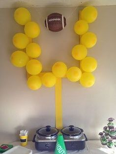 I got this from Nicks' football banquet. Do you think we could use it with both … – Super Bowl Trophy DIY Kids Football Parties, Football Party Decorations, Football Banquet, Football Themes, Tailgate Parties, Tailgating, Football Decor, Parties Decorations, Gender Reveal Football