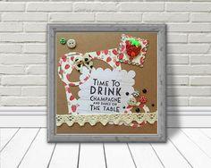 Champagne print, girlfriend gift, Champagne and strawberry, digital artwork, drinking wall art, 3D design, printable art, best friend gift