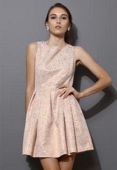 Rose Embossed Sleeveless Dress