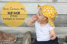 """I Married Superman: Here Comes the Sun Hat {Free Pattern} - 17,5"""" (KU ca 45,5) Baby Sonnenhut"""