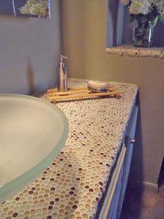 Love The Glass Tile Countertop Tile Countertopsbacksplash Ideasbathroom