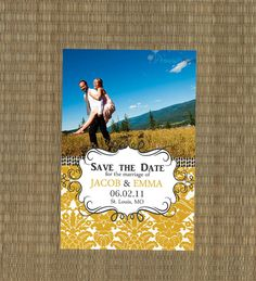 Yellow and Gray Damask Save the Date Card by EThreeDesignStudio, $15.00