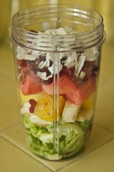 Butterhead Lettuce, Banana, Pineapple, Watermelon, Frozen Pomegranate Seeds, Flaxseeds, Coconut Flakes, Add Water & Blend.