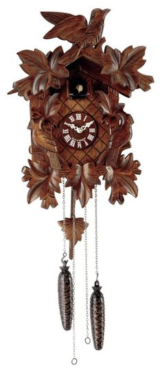This traditionally styled hand carved Black Forest Cuckoo clock features a solid wooden case, a wooden dial and pendulum. Deeply detailed leaves and birds accentuate the case and the cuckoo presents itself every half hour to count the hour. The quartz movement chimes the cuckoo call with a waterfall background and features volume control and auto night off. From www.theisenclock.com