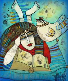 (mi.30-03-16).Leer,leer,leer,es mi terapia The Reader Painting by Albena