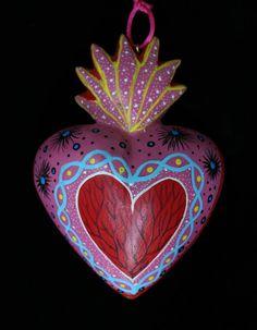 Sacred Heart Alebrijes, Hand Carved & Painted Love Token Oaxaca Mexican Folk Art