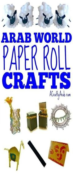 This list of crafts that use paper rolls, either from toiler paper rolls or paper towel rolls, was gathered due to the recent CoronaVirus epidemic. Eid Crafts, Ramadan Crafts, Easy Crafts For Kids, Projects For Kids, Multicultural Crafts, Laylat Al Qadr, Geography For Kids, Paper Towel Rolls, Paper Roll Crafts