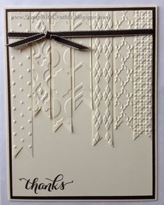 handmade thank you card from Stamp With Cynthia ... white on white with black accents ... banners with different embossing folder textures ... like it! ...Stamp'Up!