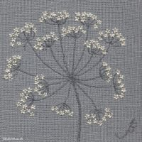 Cow Parsley on Linen III embroidery by Jo Butcher