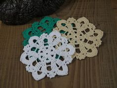 100%Cotton Handmade Crochet Doilies coaster 10cm by ColoredHome