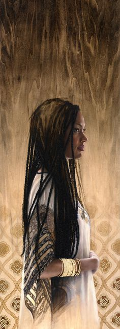 "'The Shadow of your smile' by Sara Golish Oil & gold leaf on wood panel 18"" x 50"" www.saragolish.com #portrait #profile #painting"