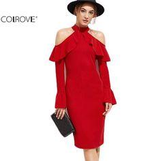 Dress Elegant Red Open Shoulder Zipper Back Ruffle Sheath Dress