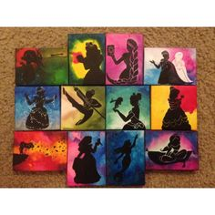 """Custom Disney Melted Crayon Silhouette Art. Many of the pieces shown are 11"""" x 14"""", but I can do any available size canvas (see below for pricing). All pieces are unique, so if you choose to have me do a duplicate style of one you see in the photos, it may vary a little. Some of the silhouettes I have done in the past are Lion King, Tinkerbell, Pocahontas, Ariel underwater, Ariel on the rock, Snow Whitw, Maleficient, Wall-e, Cheshire Car, Alice falling down the rabbit hole, Alice with the…"""