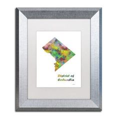 """Trademark Art """"District of Columbia State Map-1"""" by Marlene Watson Matted Framed Graphic Art Size:"""