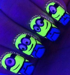 Love these nails.  Love minions. Love glow in the dark stuff!
