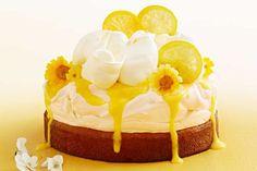 Lemon curd coconut pavlova cake