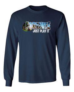 1ba77a3e92e8 QASIMOF Gamers Graphic Shirt Just Play It Boys Girls Youth Long Sleeve  TShirt Navy Youth XLarge