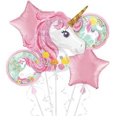 This Magical Unicorn Balloon Bouquet includes unicorn balloons and pink star balloons. Unicorns will be flying at your little one's birthday party when you decorate it with this balloon bouquet! Unicorn Balloon, Rainbow Unicorn, Unicorn Wall, Unicorn Print, Unicorn Party Supplies, Kids Party Supplies, Unicorn Themed Birthday Party, 4th Birthday, Birthday Ideas