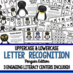 hese Common Core aligned, upper and lowercase letter recognition activities are so fun for the winter months! Students will enjoy playing the three included centers while they practice recognizing their upper and lower case letters. Students can match upper and lowercase letters using the puzzle cards, play memory match and go on a letter hunt, using upper or lower case letters, or be more challenged with a mix!