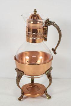 Copper Glass Coffee Tea Warmer Server Carage Brass Stand Gold Brandy Snifers Pot