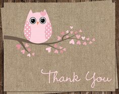 Baby Shower Thank You Cards, Baby Girl, Pink, Burlap, Owl, Hearts, Tree, Set of 24 Folding Notes, FREE Ship, BAHPK, Babies are a Hoot Girl