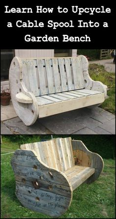 Spend Quality Time in Your Garden With This Bench Made From Recycled Wooden Cable Reel And a Pallet